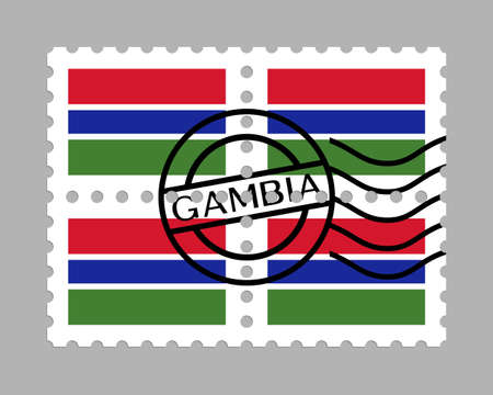 Gambia flag on postage stamps