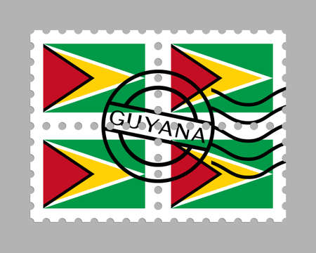 Guyana flag on postage stamps Иллюстрация