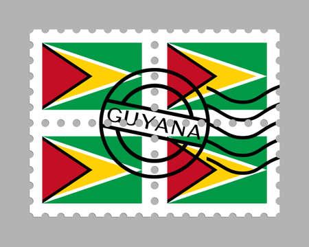 Guyana flag on postage stamps Illustration
