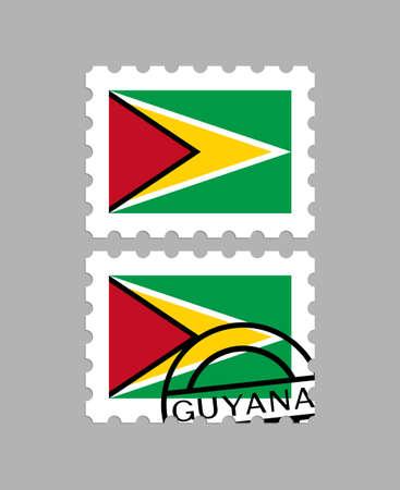 Guyana flag on postage stamps Illusztráció