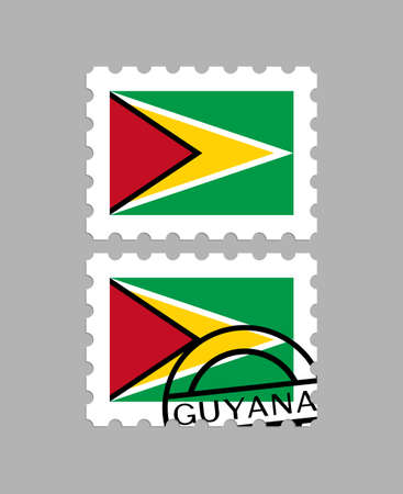 Guyana flag on postage stamps  イラスト・ベクター素材