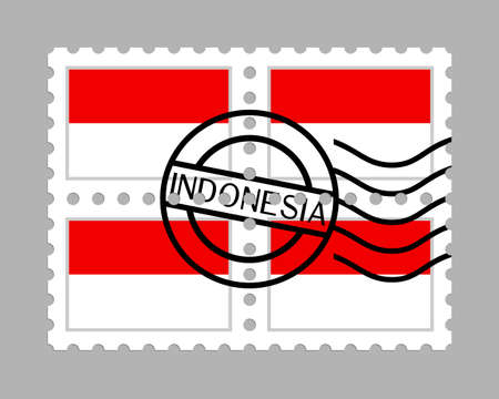 Indonesia flag on postage stamps Çizim