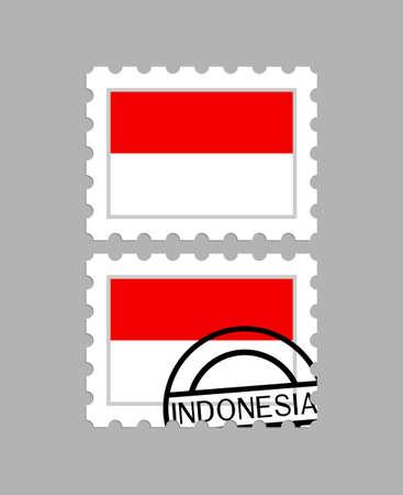 Indonesia flag on postage stamps Ilustração