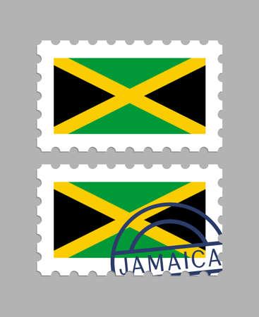 Jamaica flag on postage stamps