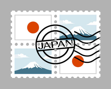 Japan flag and mount fuji on postage stamps Illustration