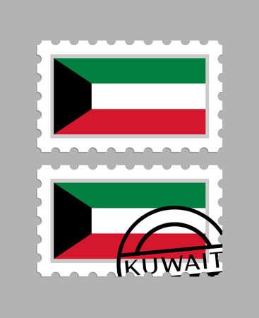 Kuwait flag on postage stamps Illusztráció