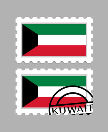 Kuwait flag on postage stamps Çizim