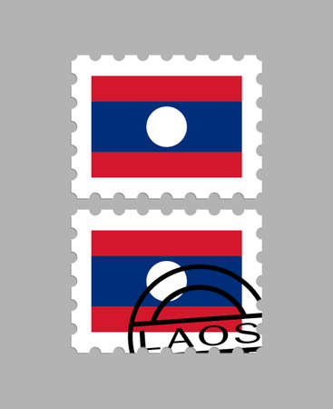 Laos flag on postage stamps