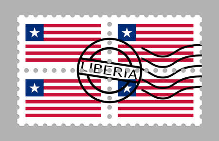 Liberia flag on postage stamps