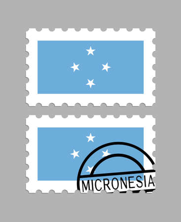 Micronesia flag on postage stamps