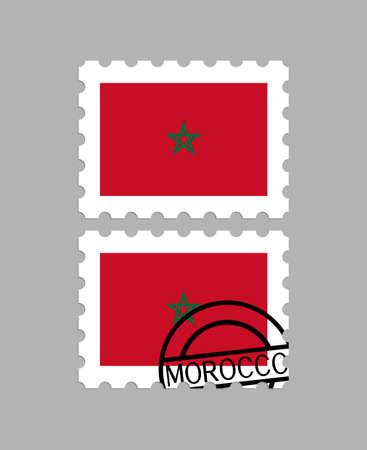 Morocco flag on postage stamps