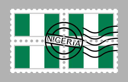 Nigeria flag on postage stamps 일러스트