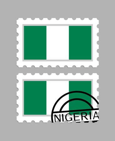 Nigeria flag on postage stamps Иллюстрация