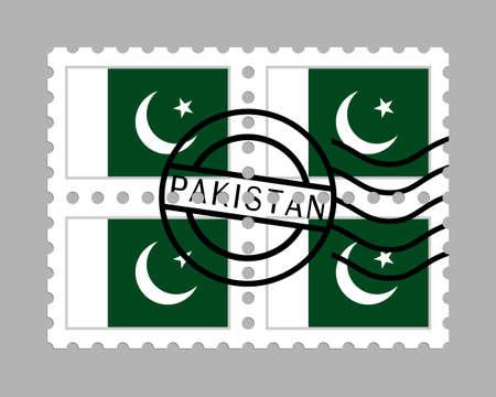 Pakistan flag on postage stamps