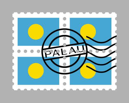 Palau flag on postage stamps 일러스트