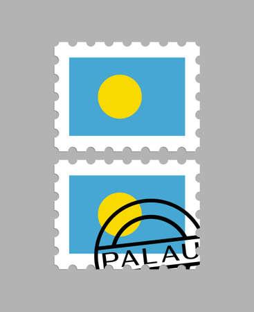 Palau flag on postage stamps Иллюстрация