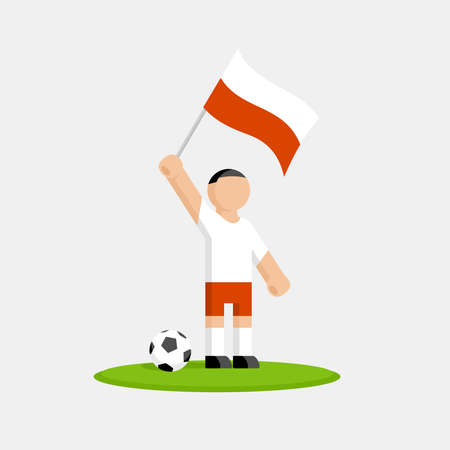 Polish soccer player in kit with flag and ball