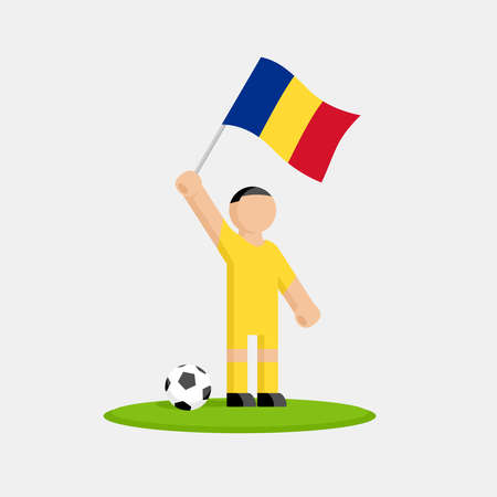 Romanian soccer player in kit with flag and ball Illustration