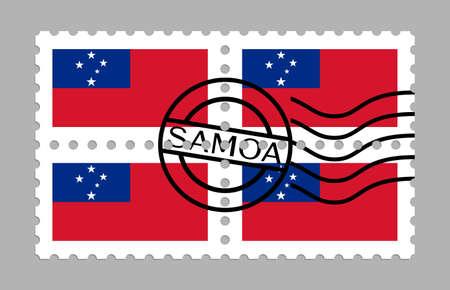 Samoa flag on postage stamps Иллюстрация