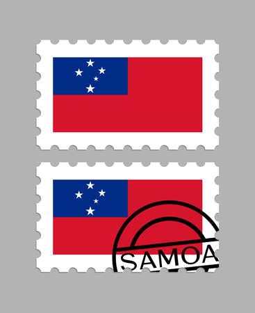 Samoa flag on postage stamps 일러스트