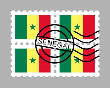 Senegal flag on postage stamps Иллюстрация