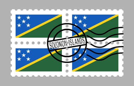 Solomon Islands flag on postage stamps Illustration