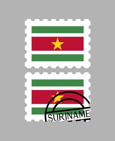 Suriname flag on postage stamps