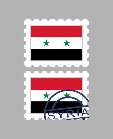Syria flag on postage stamps