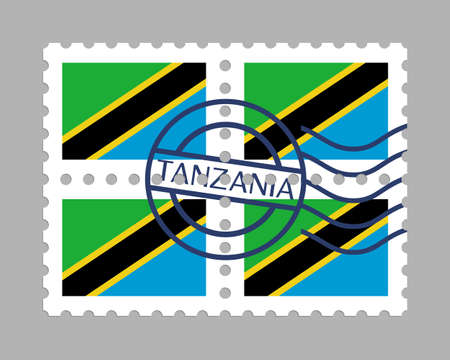 Tanzania flag on postage stamps 일러스트