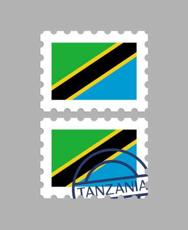 Tanzania flag on postage stamps Иллюстрация
