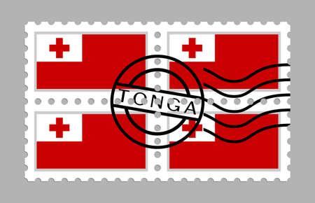 Tonga flag on postage stamps
