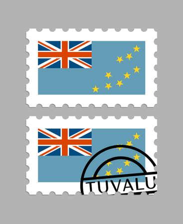 Tuvalu flag on postage stamps