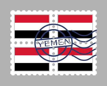 Yemen flag on postage stamps Illusztráció