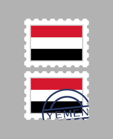 Yemen flag on postage stamps Illustration