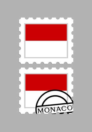 Monaco flag on postage stamps