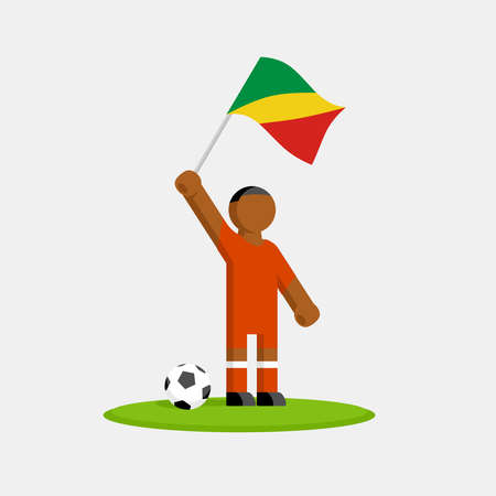 Congo soccer player in kit with flag and ball