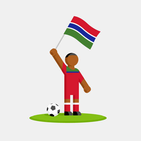 Gambia soccer player in kit with flag and ball