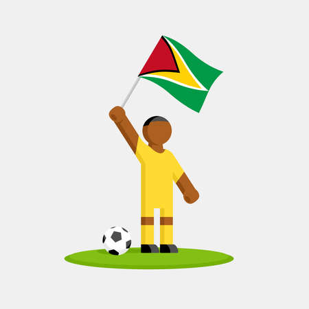 Guyana soccer player in kit with flag and ball