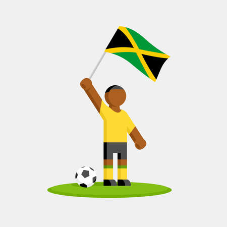 Jamaican soccer player in kit with flag and ball Illustration