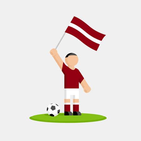 Jugador de fútbol de Letonia en kit con bandera y bola