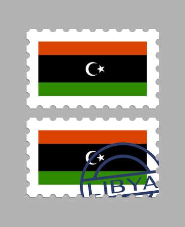 Libya flag on postage stamps