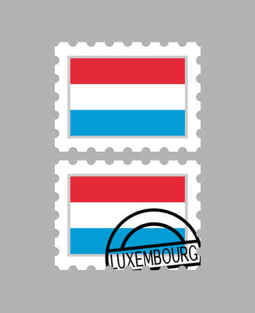 Luxembourg flag on postage stamps
