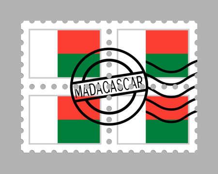 Madagascar flag on postage stamps