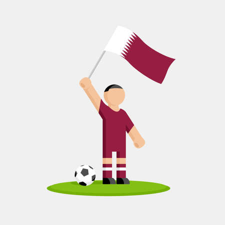 Qatar soccer player in kit with flag and ball Illustration