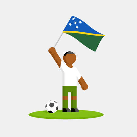 Solomon islands soccer player in kit with flag and ball