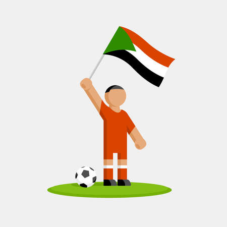 Sudan soccer player in kit with flag and ball