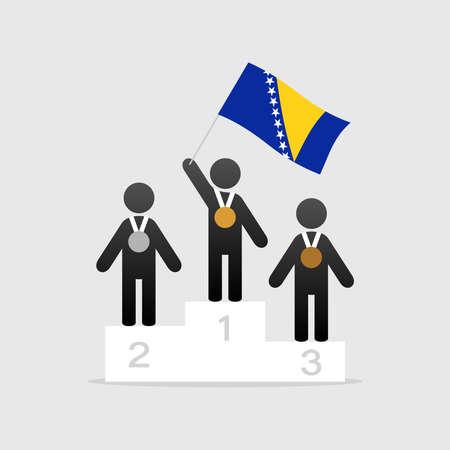 Champion with Bosnia and herzegovina flag on winner podium