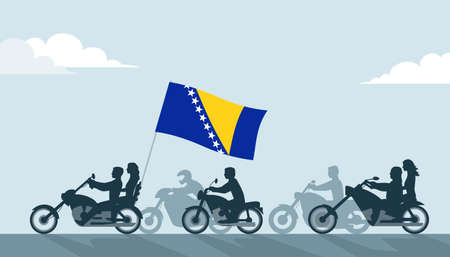 Bikers on motorcycles with Bosnia and herzegovina flag