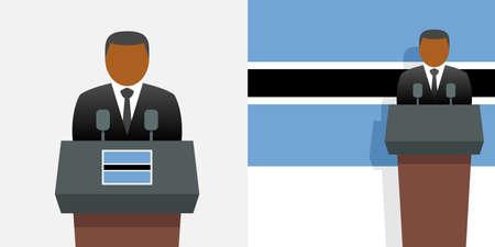 Botswana president and flag Illustration