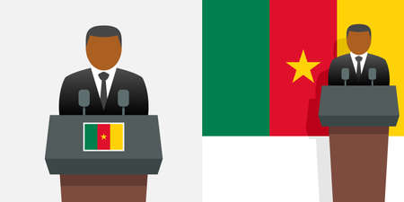 Cameroon president and flag